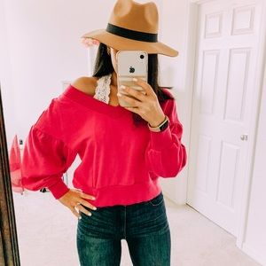 WILD FABLE Pink VNeck Cropped Sweatshirt Pullover